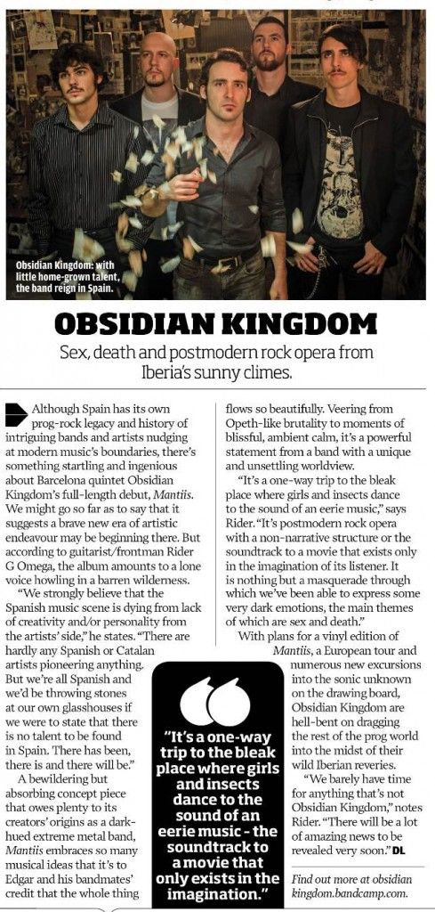 Obsidian Kingdom - Interview at Prog Magazine #26 - June 2013